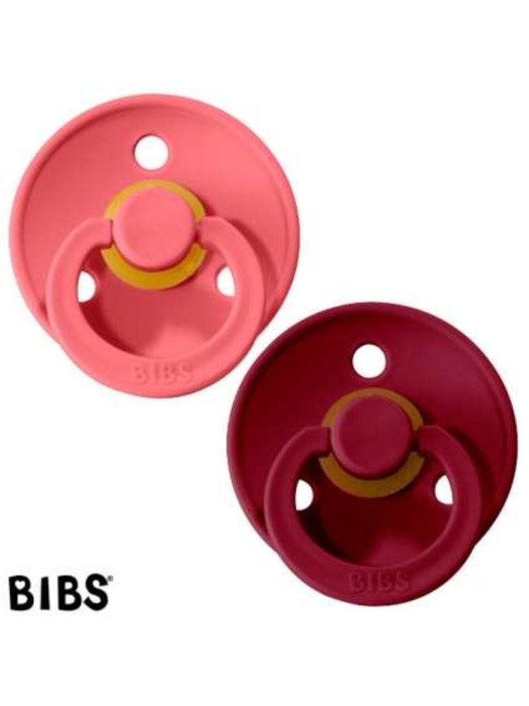 Bibs Bibs speen natuurlijk rubber set van twee maat 1 (0-6 maanden) Coral / Ruby