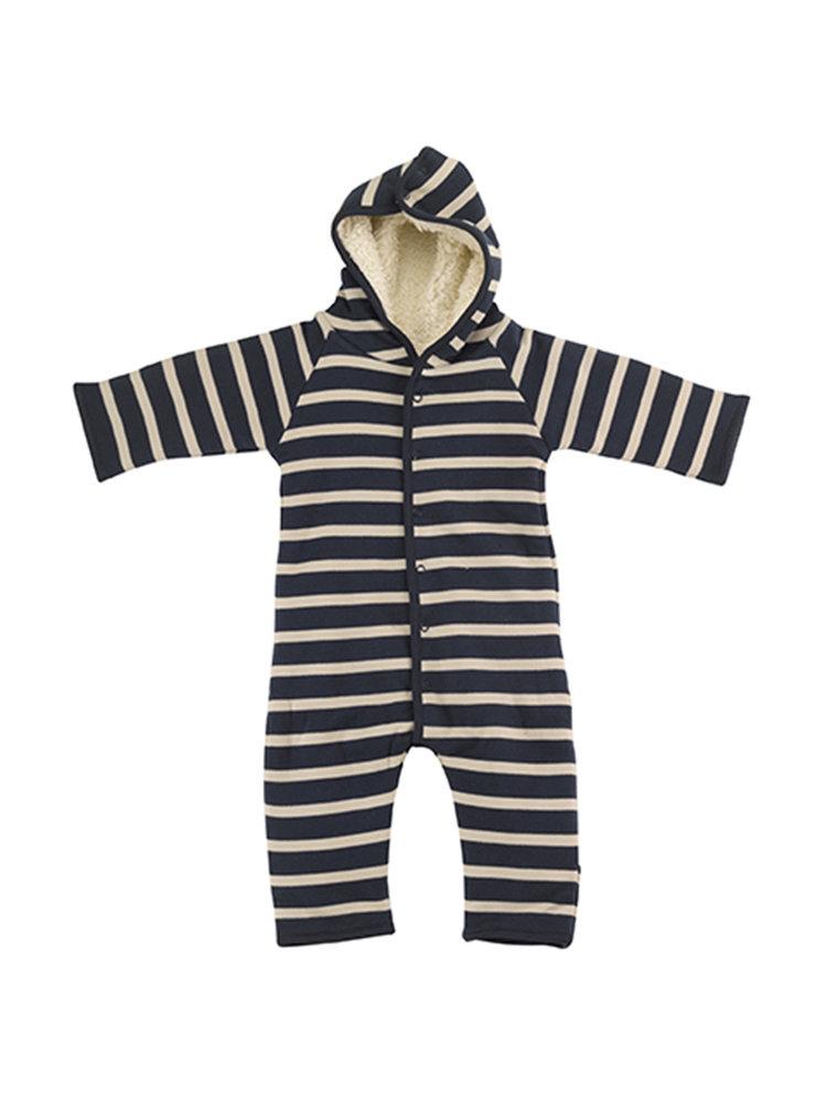 Pigeon Winterpak - Snuggle suit  Breton stripe Ink blue Pumice