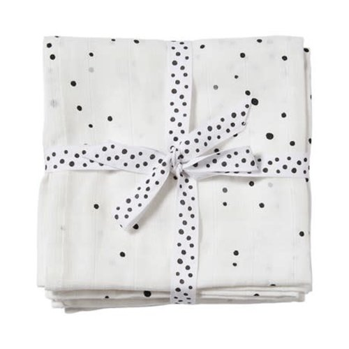 Done by Deer Burp cloth 2- pack Dreamy Dots White 70 x 70 cm