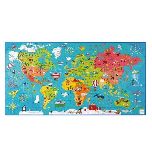 Puzzel XXL Wereldkaart 91x48,5 cm - 150 stukken