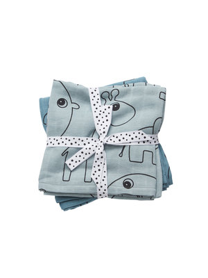 Done by Deer Swaddle 2-pack Contour Blue 120 x 120 cm