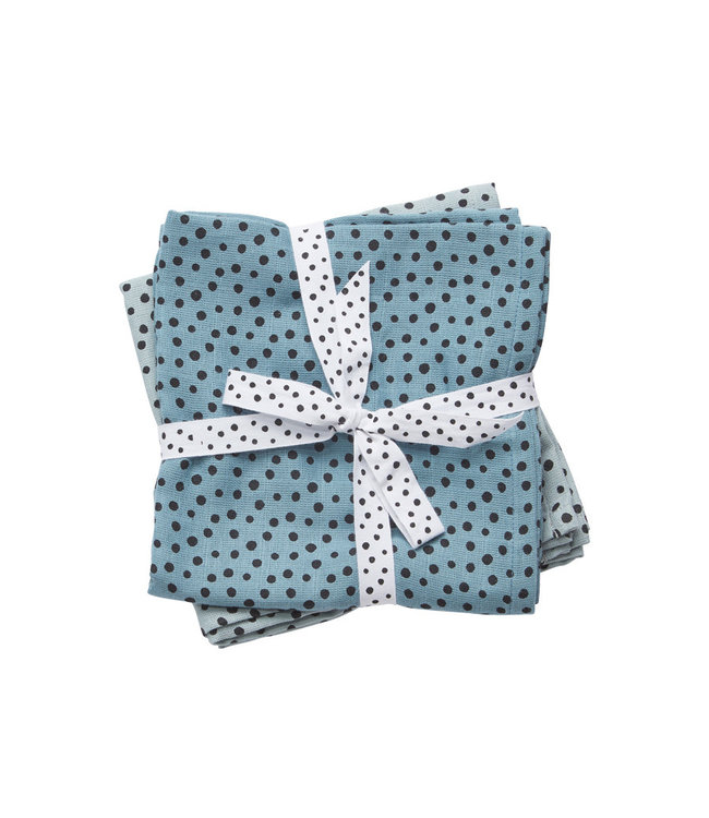 Done by Deer Swaddle 2-pack Happy Dots Blue 120 x 120 cm