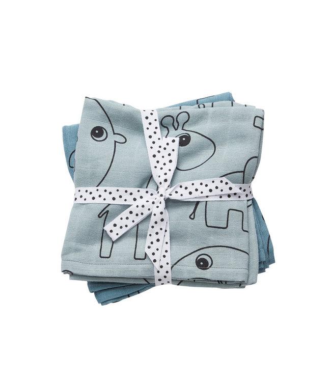 Done by Deer Burp cloth 2-pack Contour Blue 70 x 70 cm