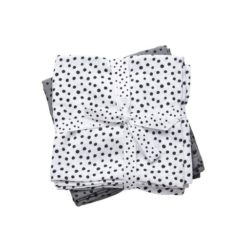 Done by Deer Burp cloth 2-pack Happy Dots Grey 70 x 70 cm