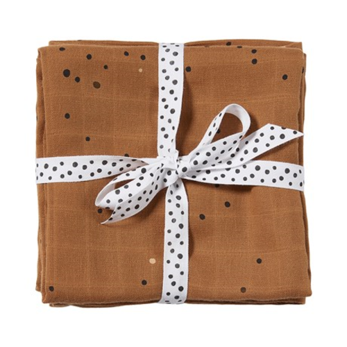Done by Deer Burp cloth 2- pack Dreamy Dots Mustard 70 x 70 cm