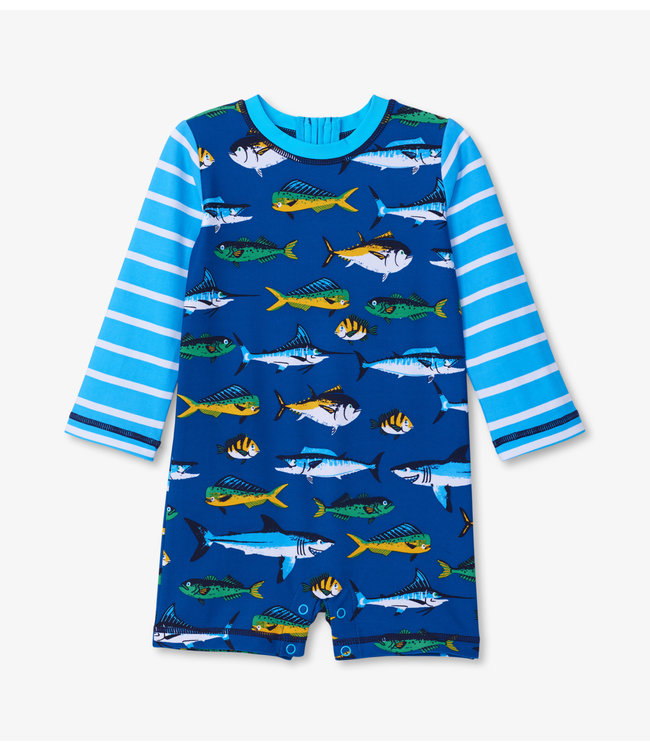 Hatley Baby One-Piece Rashguard Game Fish UV Factor 50+
