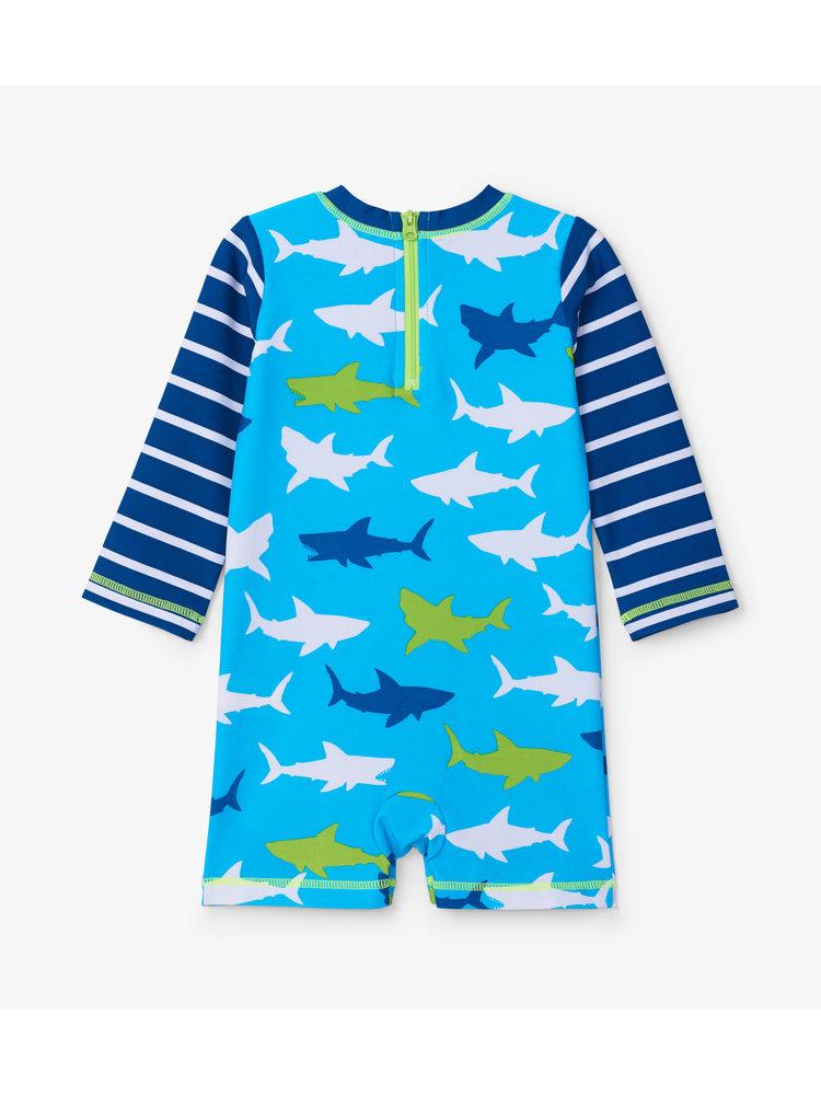 Hatley Baby One-Piece Rashguard Great White Sharks UV Factor 50+