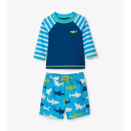 Hatley Baby tweedelig zwempak -  Shirt & Short Great White Shark UV Factor 50+