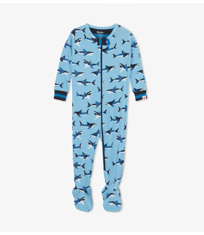 Hatley Great White Sharks Pyjama met voet - Organic Cotton