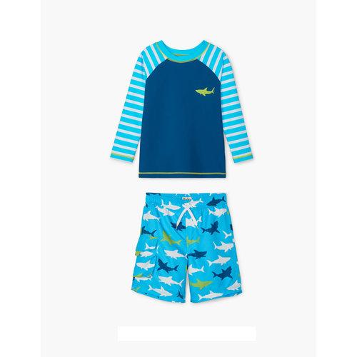 Hatley Kids Tweedelig zwempak - shorts & shirt Uv Factor 50+ Great White Shark