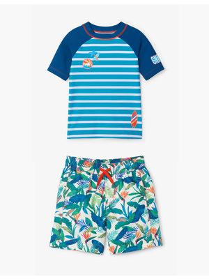 Hatley Kids Tweedelig zwempak - shirt & shorts Uv Factor 50+ Tropical Paradise