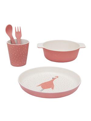 Trixie Bamboe besteksetje vork & lepel Mrs Flamingo