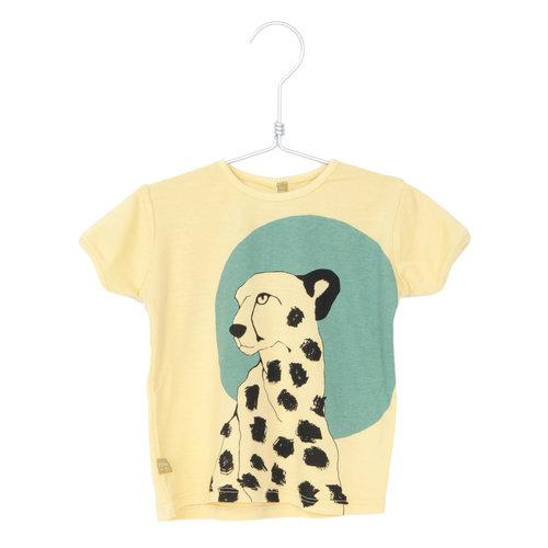 Lotiekids T- shirt Kids GOTS Biologisch Katoen Cheetah Soft Yellow