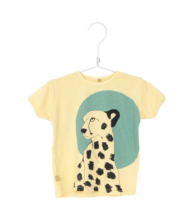 Lotiekids T- shirt Kids GOTS Biologisch Katoen Cheetah Soft Yellow
