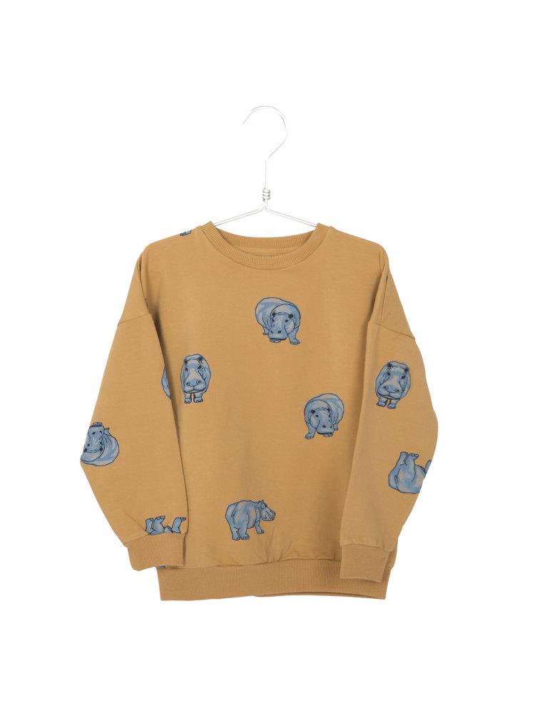 Lotiekids Sweatshirt Baby GOTS Katoen Hippo Mustard