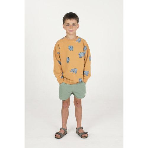 Lotiekids Sweatshirt Kids GOTS Katoen Hippo Mustard