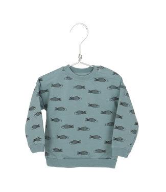 Lotiekids Sweatshirt Kids GOTS Katoen Fishes Bluegrey
