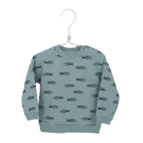 Lotiekids Sweatshirt Baby GOTS Katoen Fishes Bluegrey