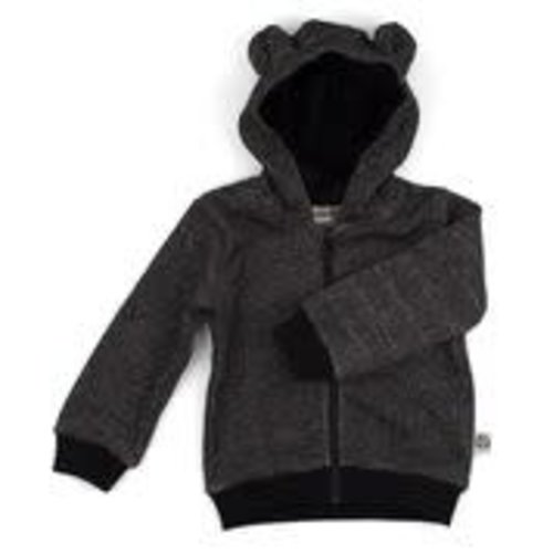 Onnolulu Hoodie Balou Black met oortjes GOTS Slub Sweater