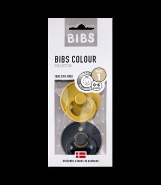 Bibs Bibs speen natuurlijk rubber set van twee maat 1 (0-6 maanden) Mustard / Grey