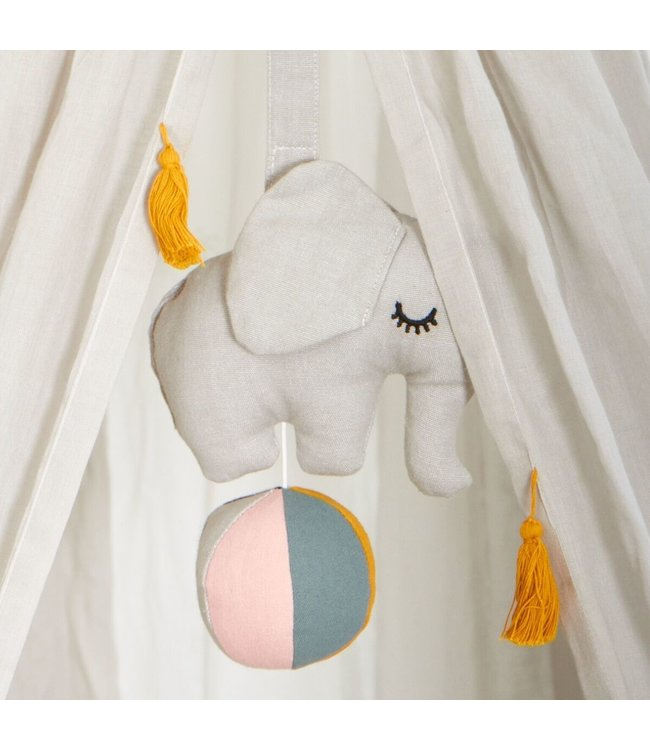 Roommate Elephant on ball, Music Mobile - Grey Organic Cotton