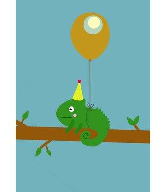 Gnoom Dubbele kaart Kameleon Gefeliciteerd