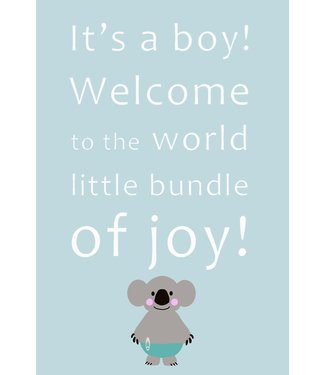 Gnoom Dubbele kaart Koala It's a boy!