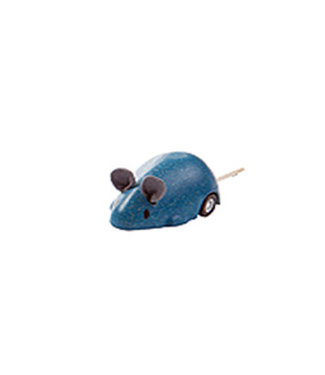 Plan Toys Bewegende muis blauw van duurzaam hout