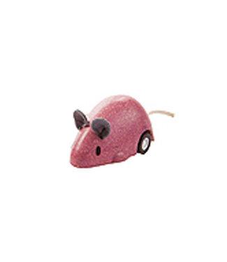 Plan Toys Bewegende muis roze van duurzaam hout