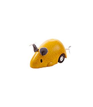 Plan Toys Bewegende muis geel van duurzaam hout