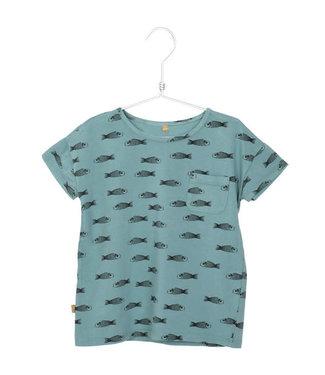 Lotiekids T- shirt Kids GOTS Biologisch Katoen Fishes Bluegrey