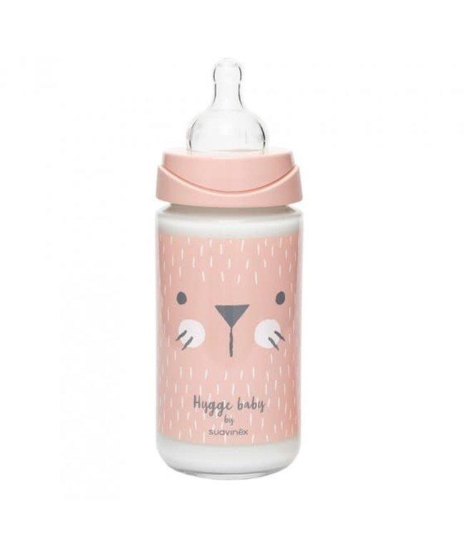Suavinex Suavinex fles GLAS 240 ml siliconen speen en anti-krampjes systeem Pink Whiskers