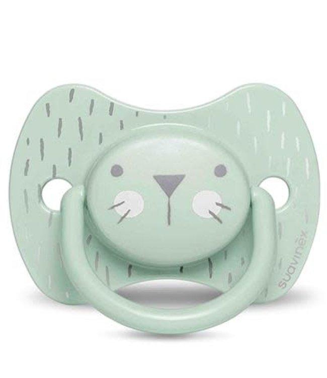 Suavinex Suavinex Hygge Speen - Siliconen - Plat en symmetrisch - +18M Green Whiskers