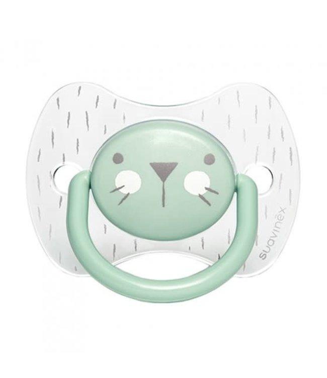 Suavinex Suavinex Hygge Speen - Siliconen - Plat en symmetrisch - 6 - 18M Green Whiskers