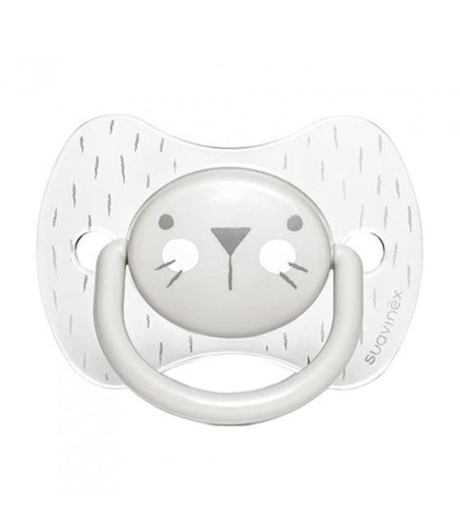 Suavinex Suavinex Hygge Speen - Siliconen - Plat en symmetrisch - 6 - 18M Grey Whiskers