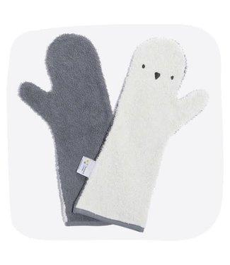 Baby Shower Glove Pinguïn (Tweekleurig lichtgroen/grijs)