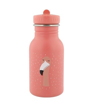 Trixie Trixie RVS Drinkfles met rietjes dop 350 ml Mrs Flamingo