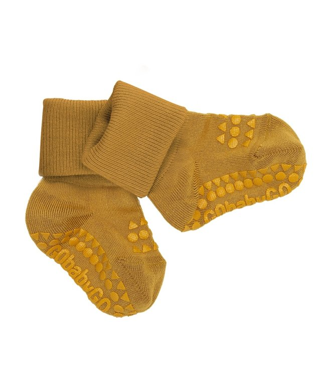 Go baby go Bamboe Sokken met anti-slip Mustard