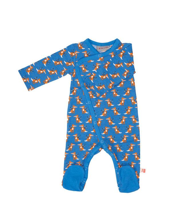 Froy & Dind Overslag boxpakje - Pyjama met voetjes GOTS Katoen Winterfox Blue
