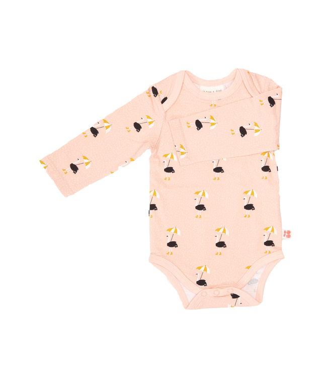 Froy & Dind Romper lange mouwen GOTS Jersey Katoen Bird with Umbrella Soft Pink