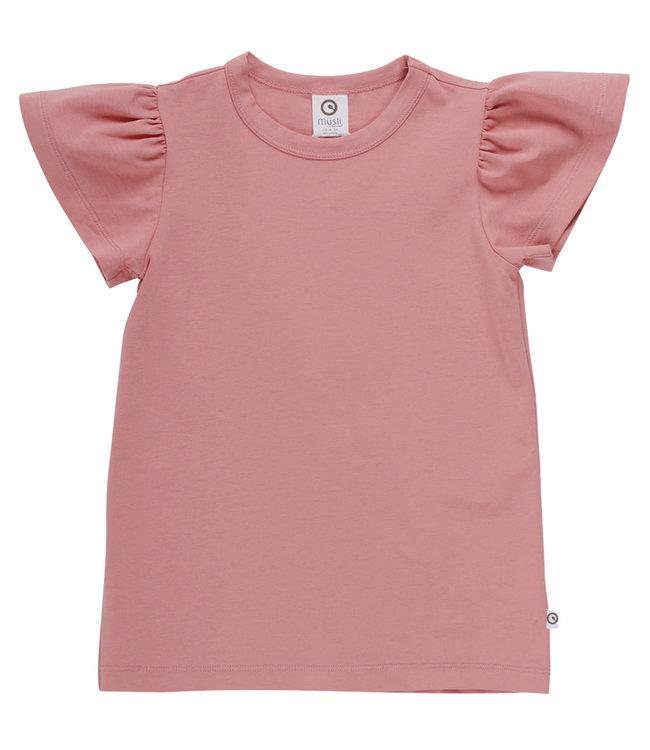 Muesli Cozy me T-shirt met vlindermouwen GOTS katoen Rose