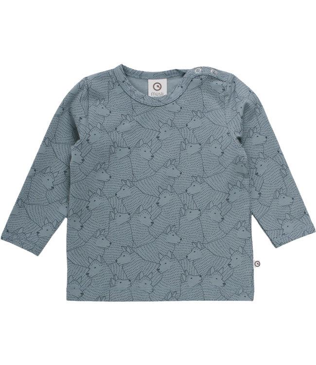 Muesli T-shirt Baby met mouwen Wolf GOTS katoen Lagoon