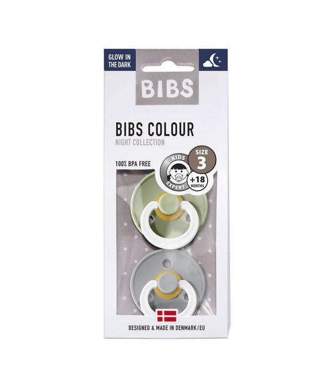 Bibs Bibs speen natuurlijk rubber Glow in the dark set van twee maat 3 (+18 maanden) Sage/ Cloud