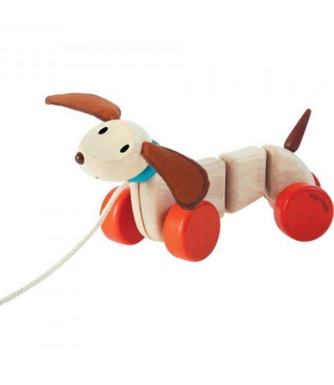 Plan Toys Happy puppy - Hond trekdiertje van duurzaam hout