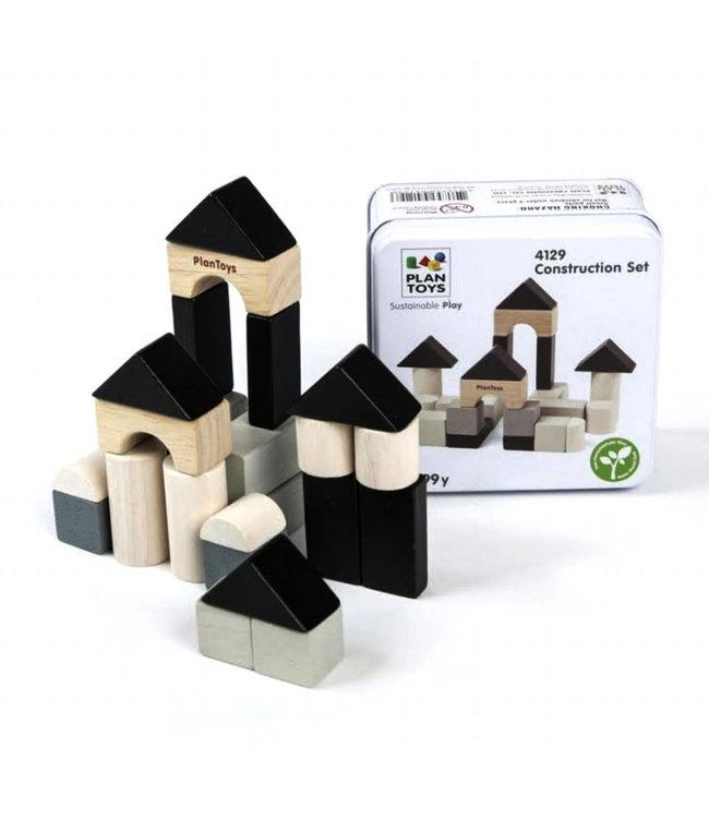 Plan Toys Construction set - bouw blokjes van duurzaam hout in metalen opbergdoosje