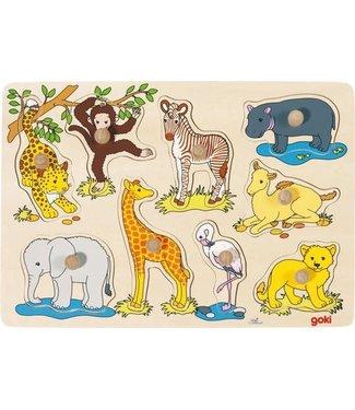 Goki Houten Knoppuzzel Afrikaanse babydieren