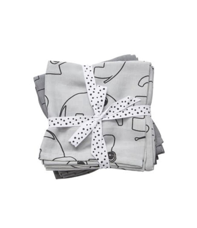 Done by Deer Swaddle 2-pack Contour Grey 120 x 120 cm