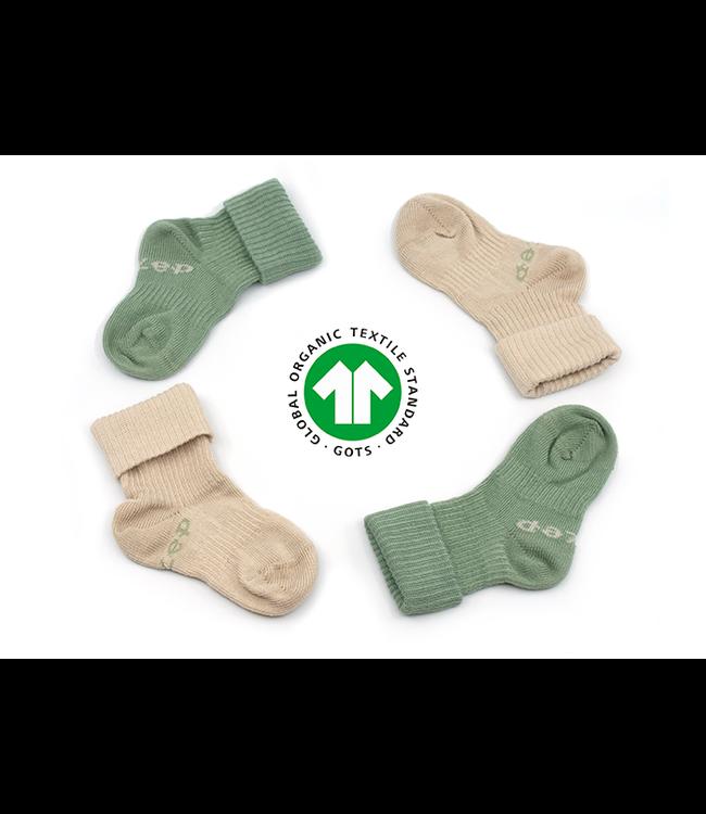 Kipkep Bio Blijf sokjes GOTS katoen met ingebreide blijf- zitten- zones 2 paar Calming Green