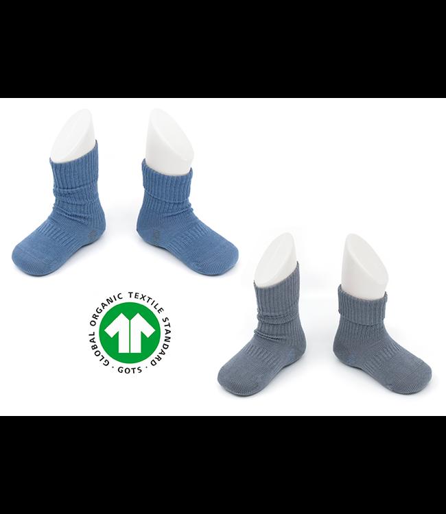 Kipkep Bio Blijf sokjes GOTS katoen met ingebreide blijf- zitten- zones 2 paar Denim Blue