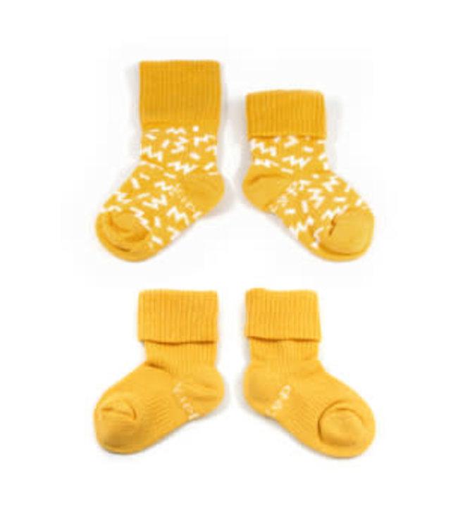 Kipkep Blijf sokjes met ingebreide blijf- zitten- zones 2 paar Memphis Yellow